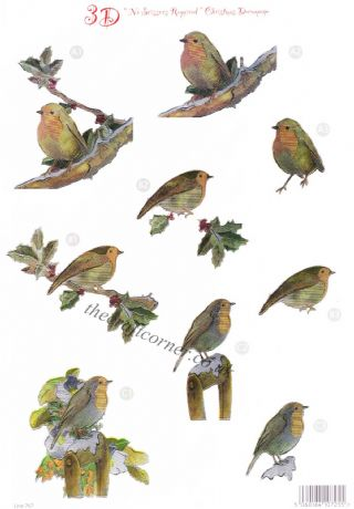 Christmas Robin Reflections Foil Die Cut 3d Decoupage Sheet